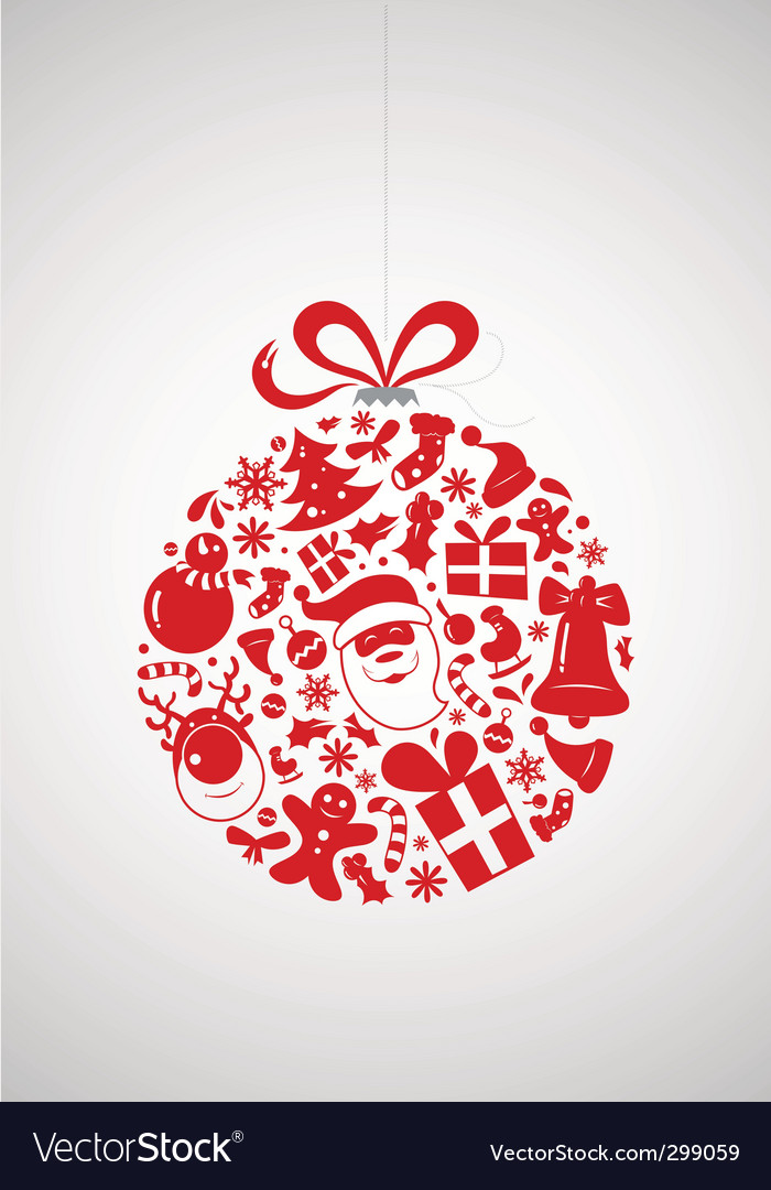 Christmas icon bauble vector image