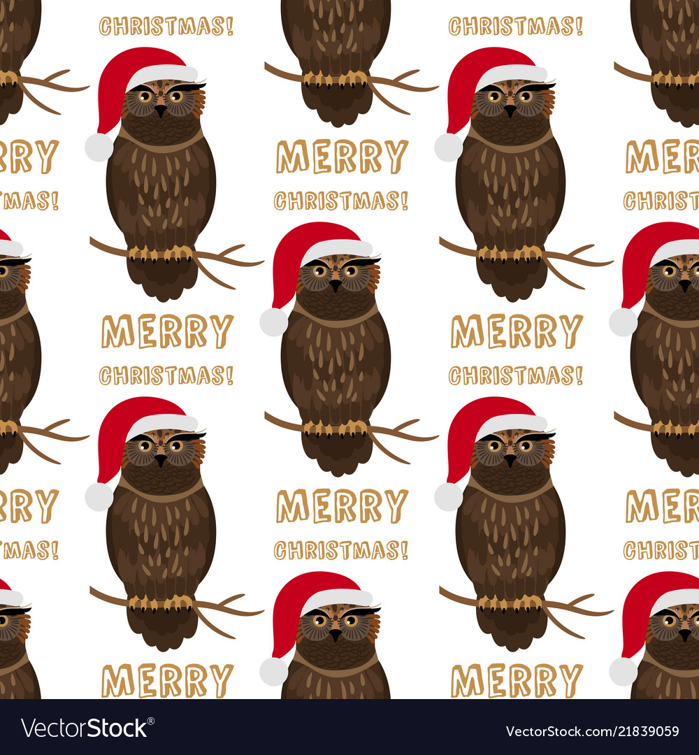 Christmas owl with santa hat seamless pattern