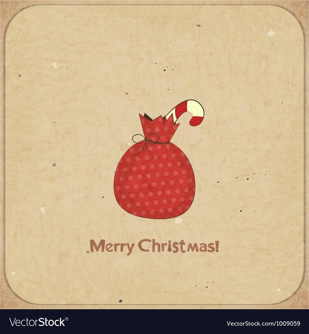 Christmas retro postcard with gift bag vector image