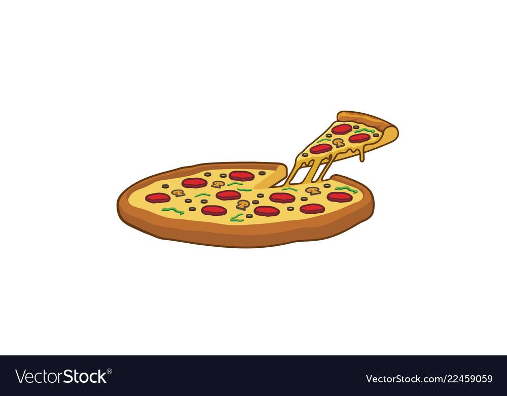 Delicious big tray of pizza slice logo