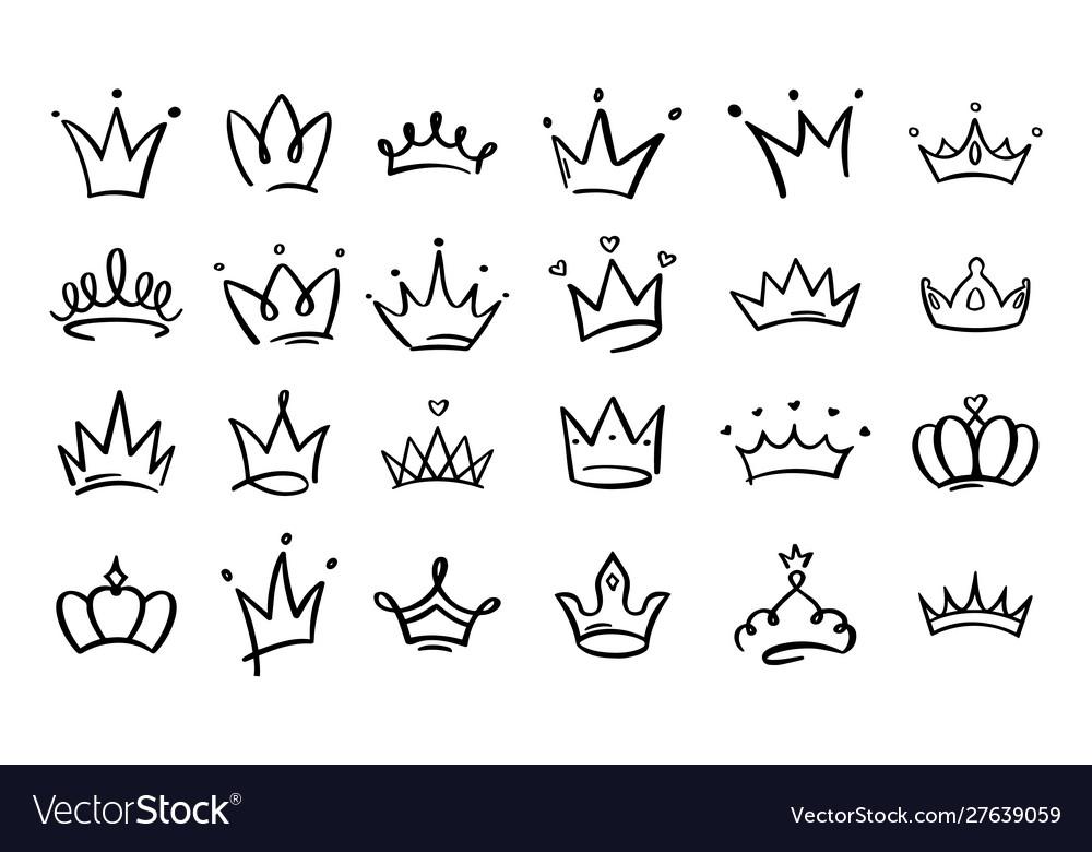 Doodle crowns line art king or queen crown sketch