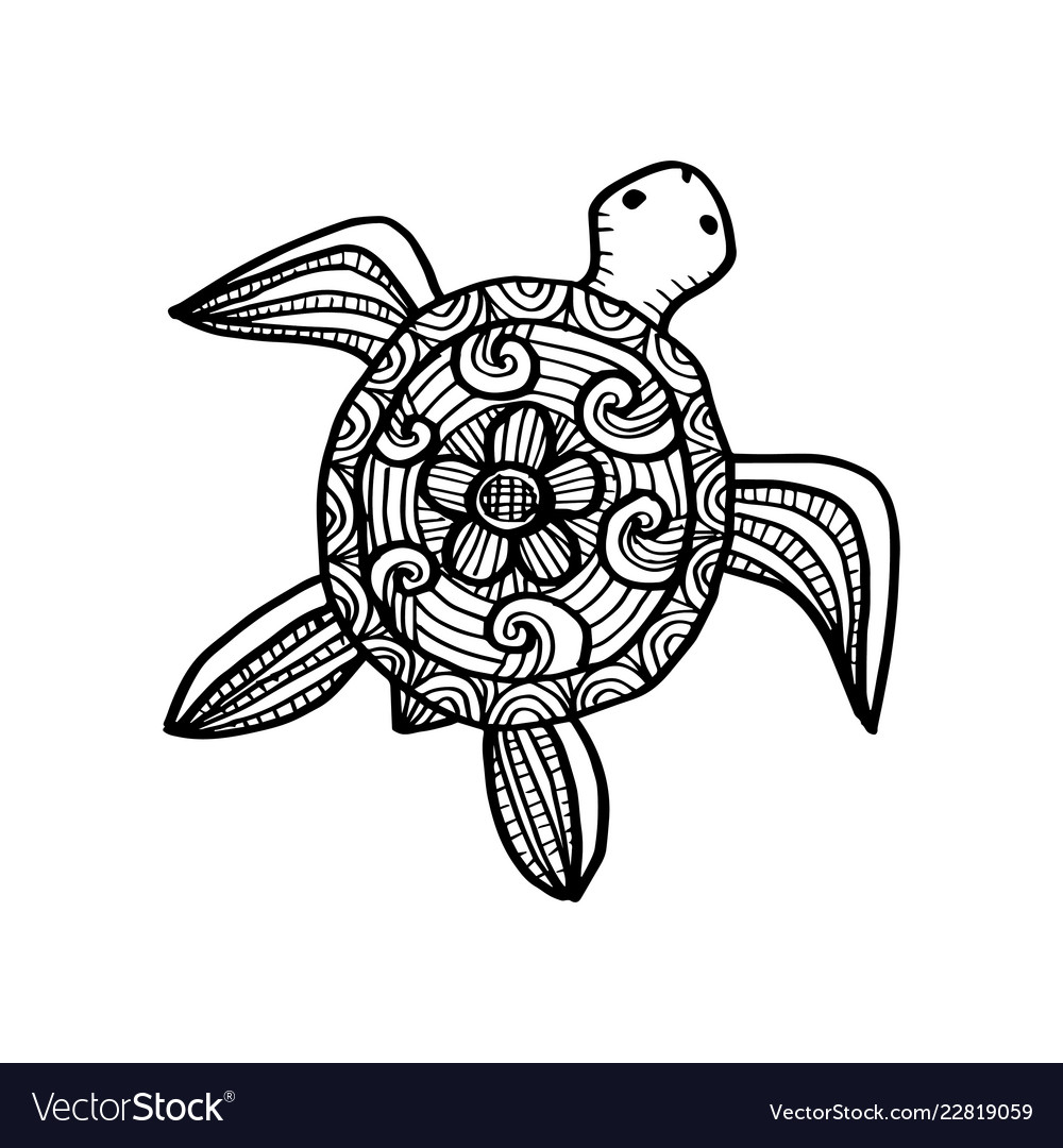 - Drawing Decorative Turtle Coloring Book Royalty Free Vector