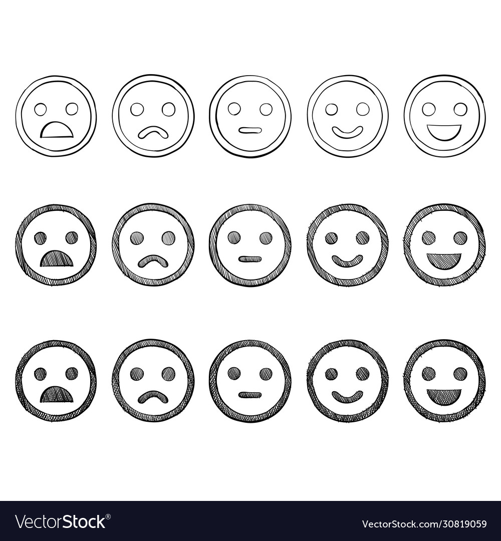 Emoticon doodles set hand drawn vector