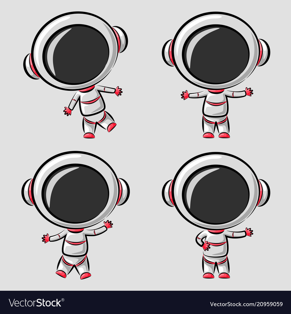 Funny little astronaut in differences poses vector image