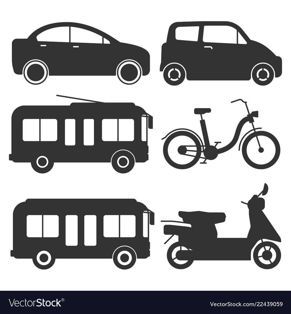 Ground transport silhouettes icons
