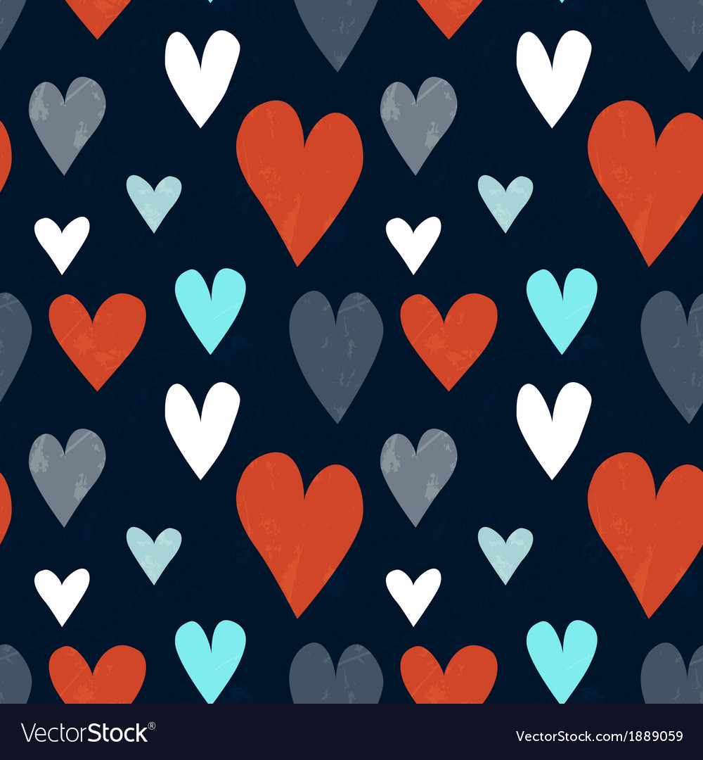 Grungy seamless heart pattern for valentines day