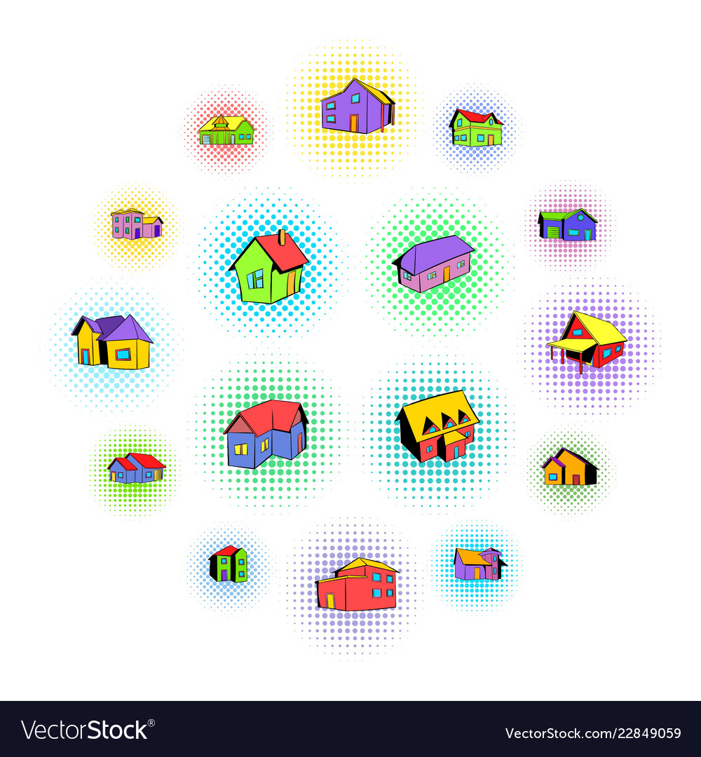 House icons set comics style vector