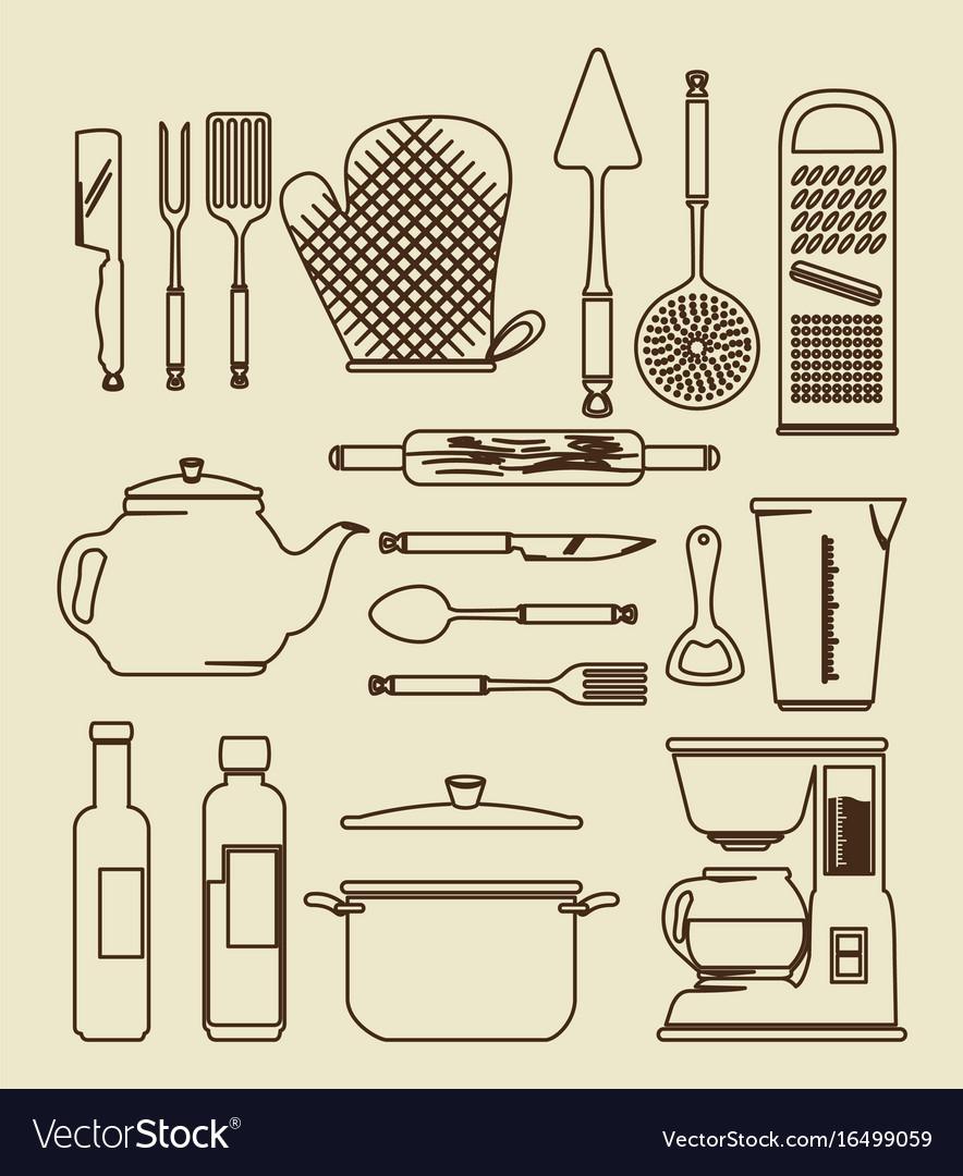 Kitchen utensils vintage icon set