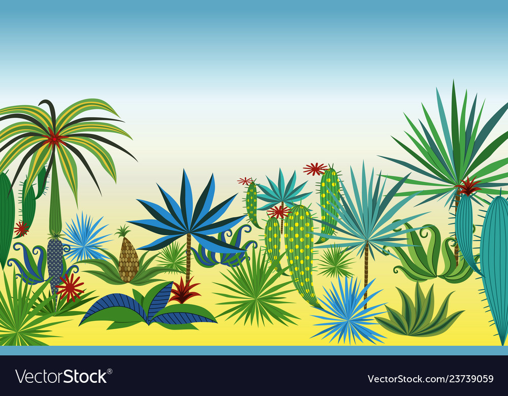 Landscape with different tropical plants and trees