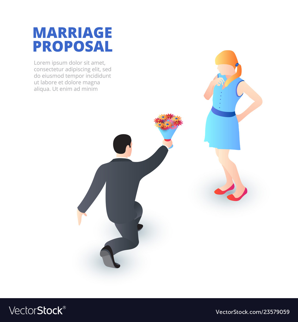 Marriage proposal concept with kneeling man and a