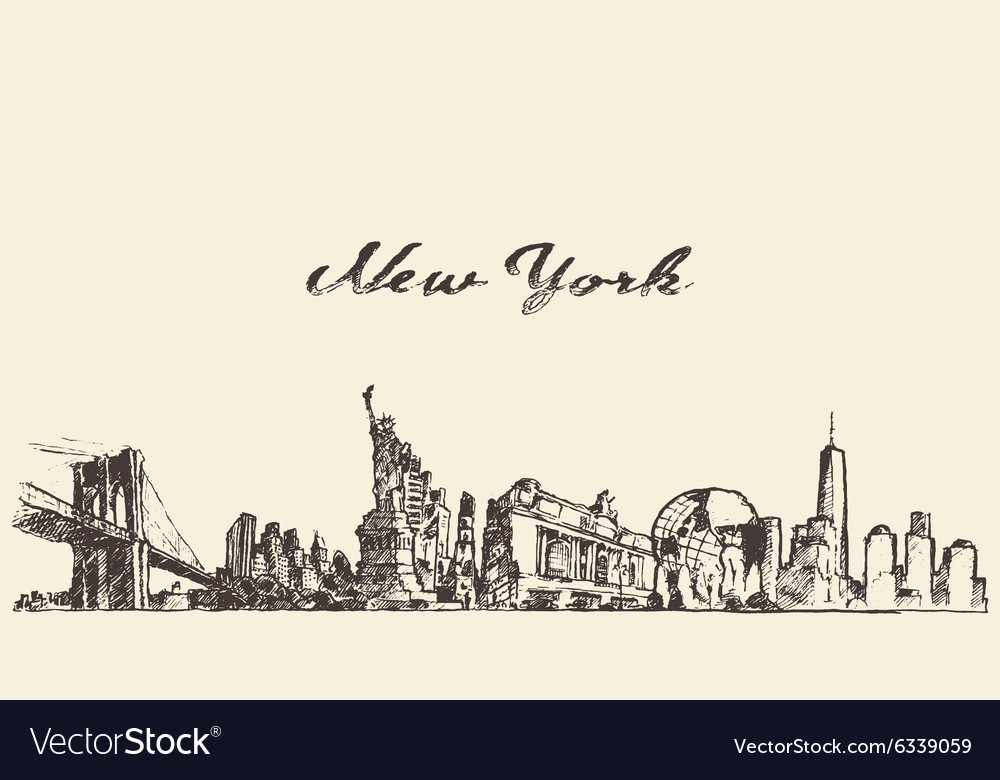 New York city skyline engraved drawn sketch vector image