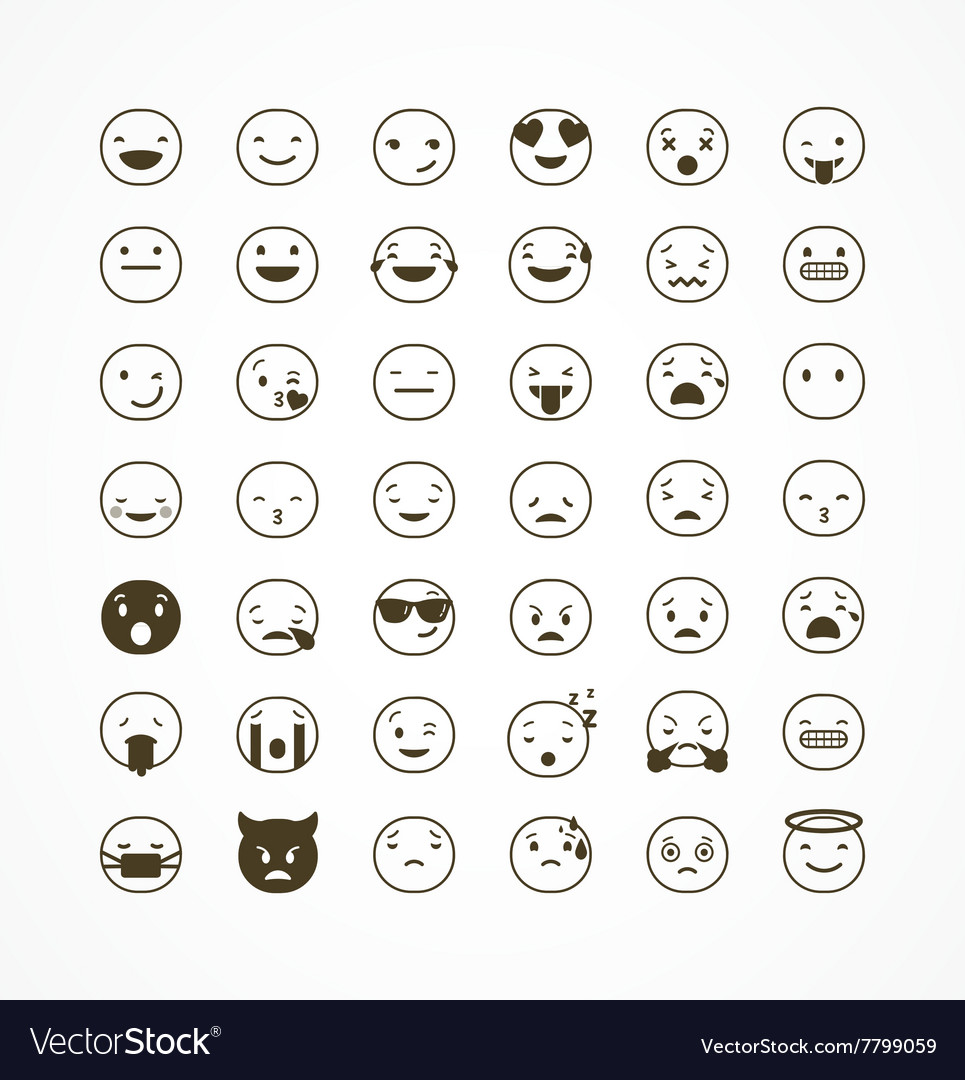 Set of emoticons emoji isolated