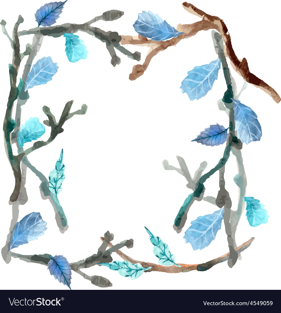 Watercolor leaves and branch background