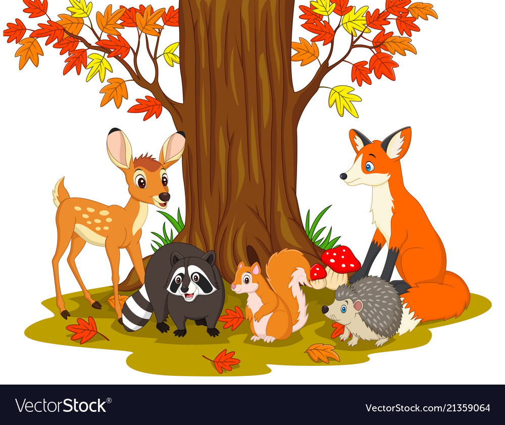 Cartoon wild creatures in the forest