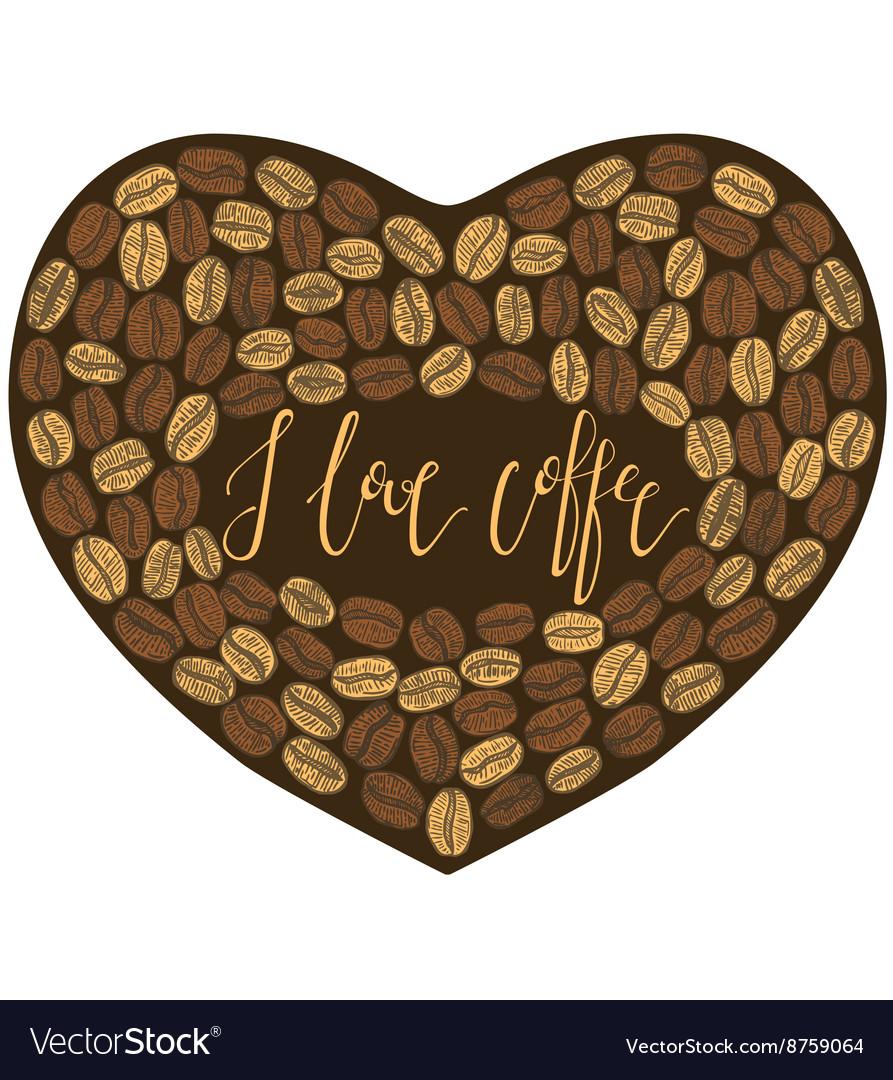 Dark cofee heart with lettering inside