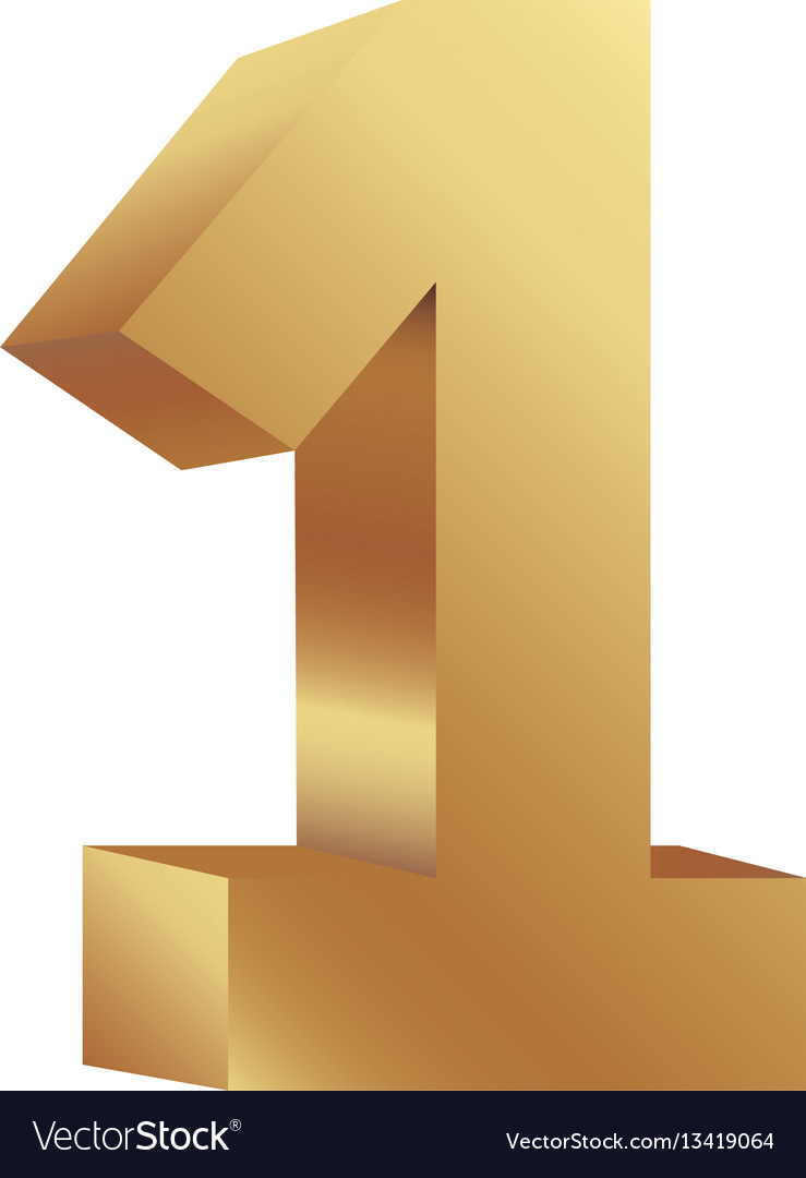 Gold number one icon vector image