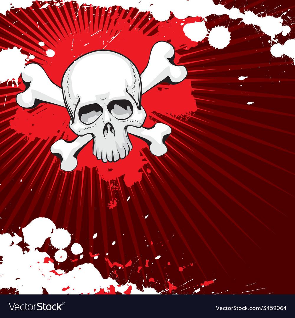 Grunge skull 2 vector image