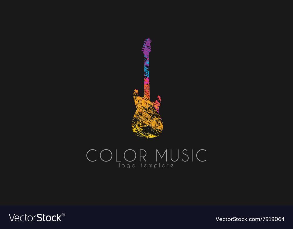 Guitar Colorful logo Rainbow guitar music logo