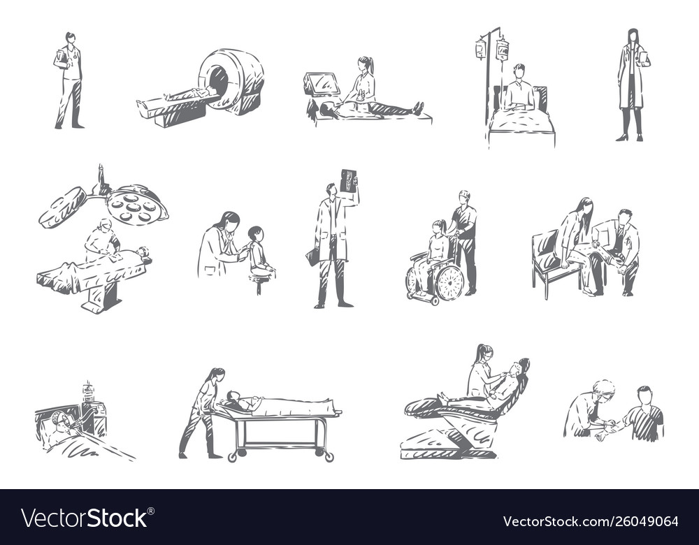 Hospital staff and patients medicine concept