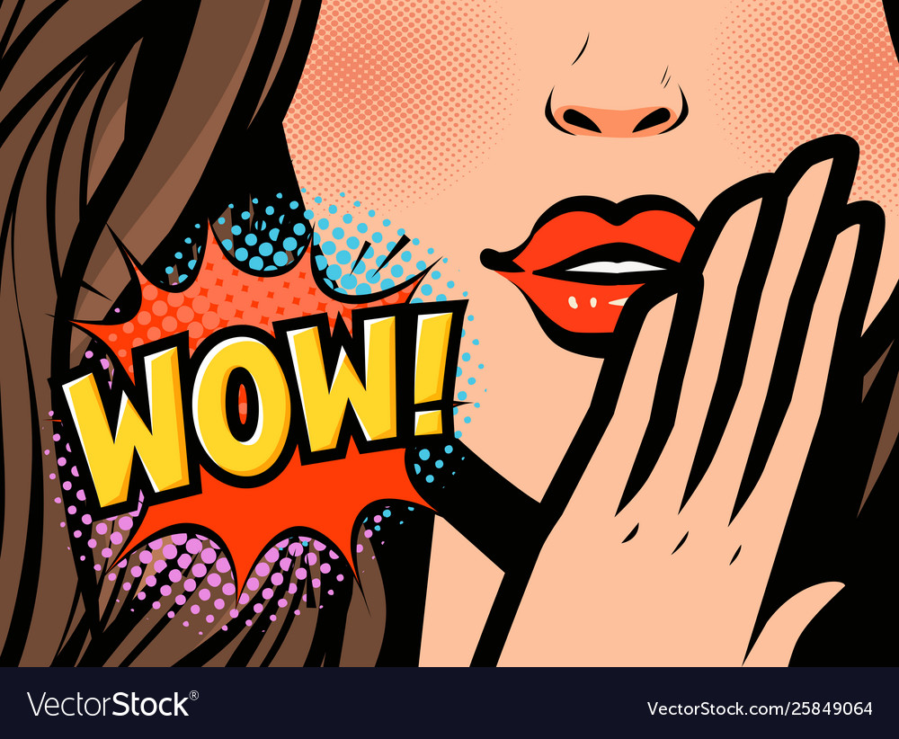 Pop art female face closeup sexy young woman