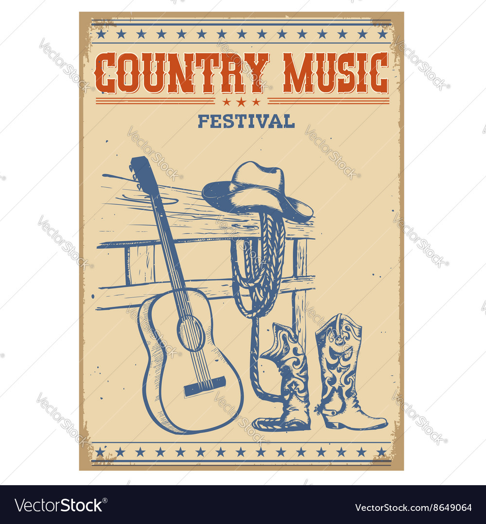 Poster music festival background with guitar and