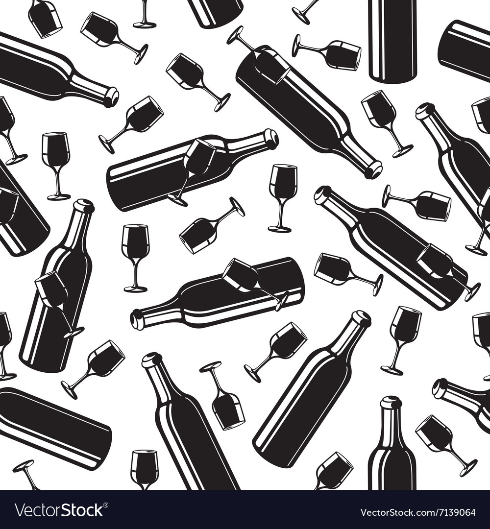 Seamless pattern from a wine bottle and glasses vector image