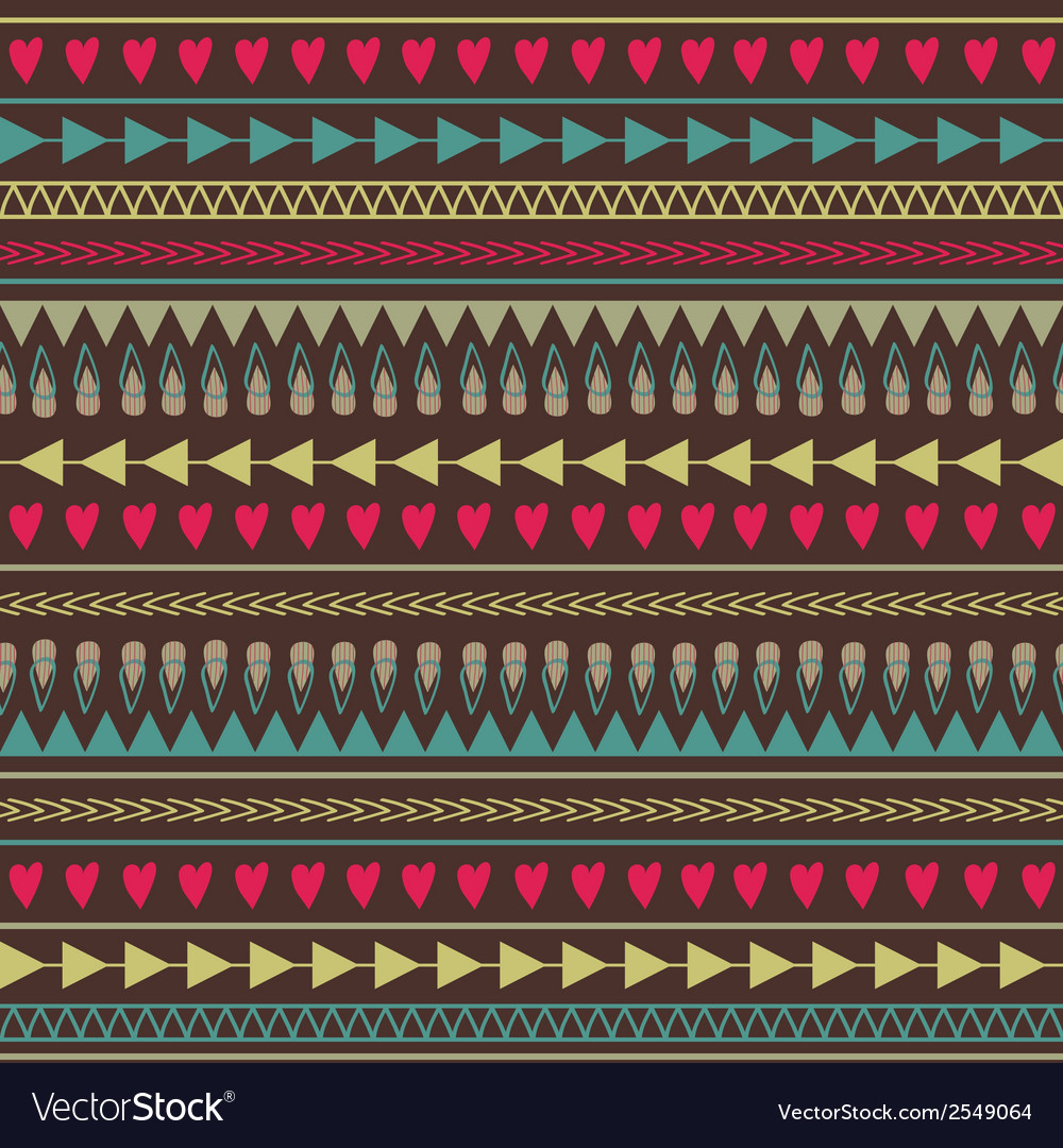 Seamless pattern with hearts lines arrows