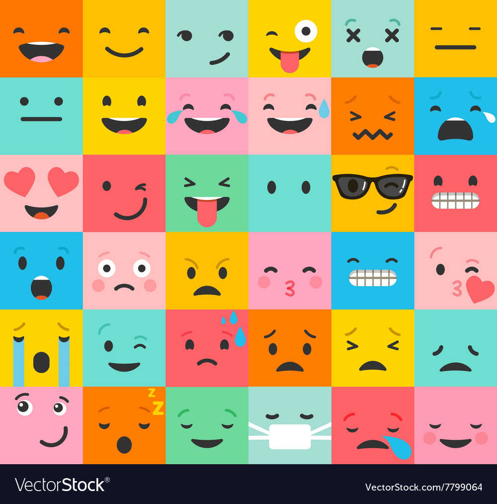 Set of colorful emoticons pattern