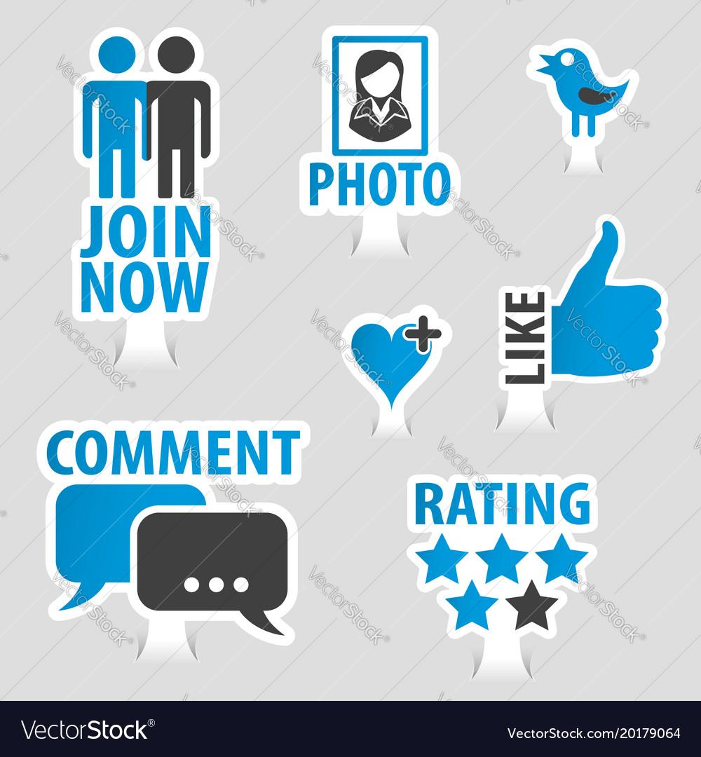 Set social media sticker icons