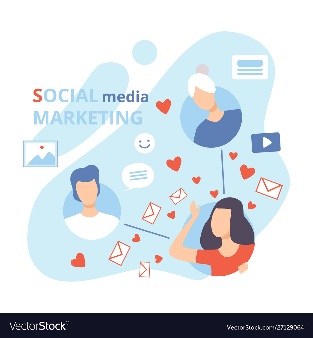 Social media marketing business characters social