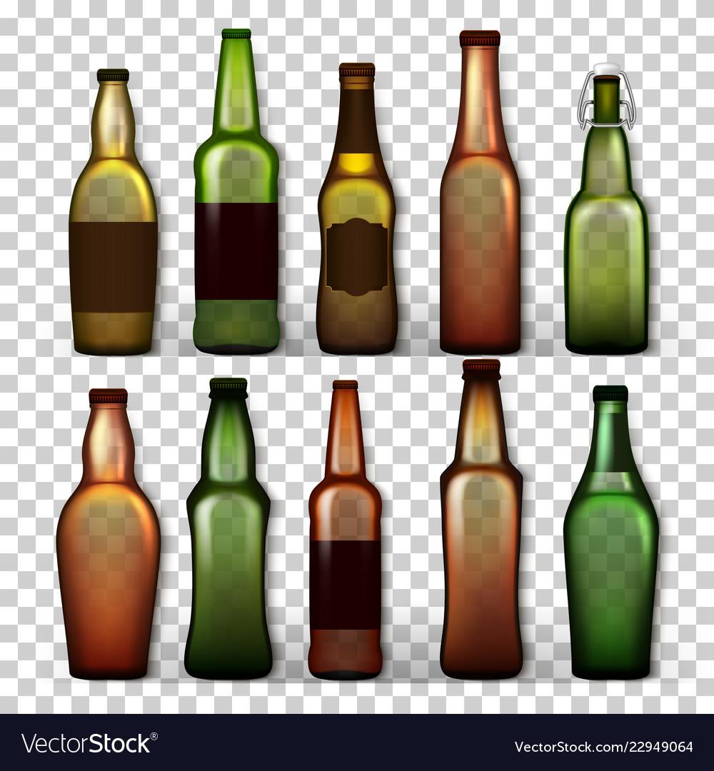 Transparent beer bottles set different