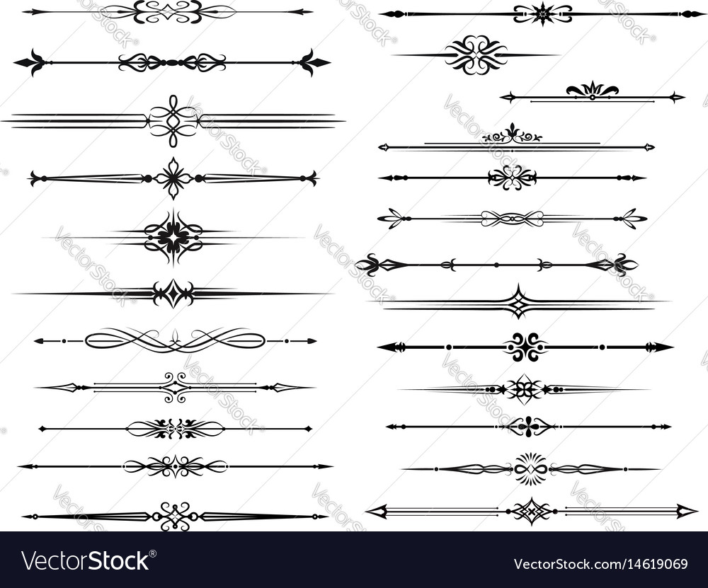Border and divider set for vintage frame design vector image