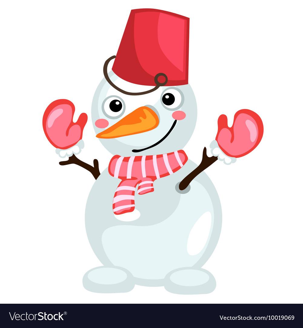 Cartoon snowman with bucket on head and scarf