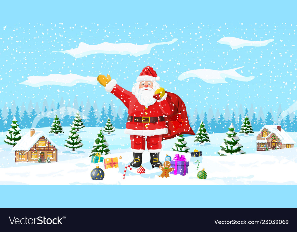 Christmas background santa claus with bag gifts