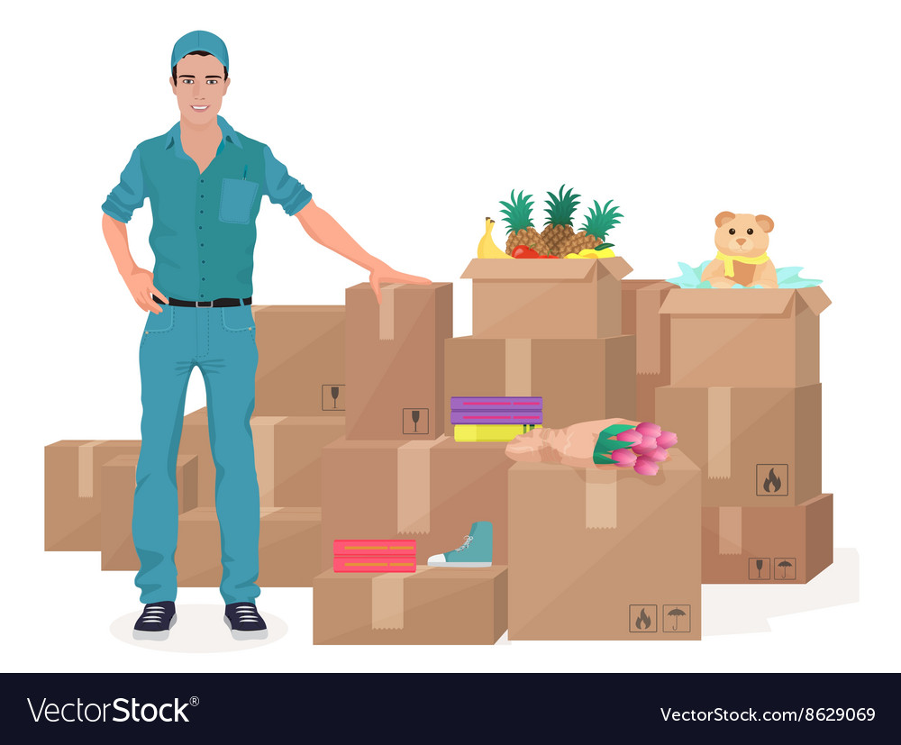 Delivery move service man near craft boxes Cargo