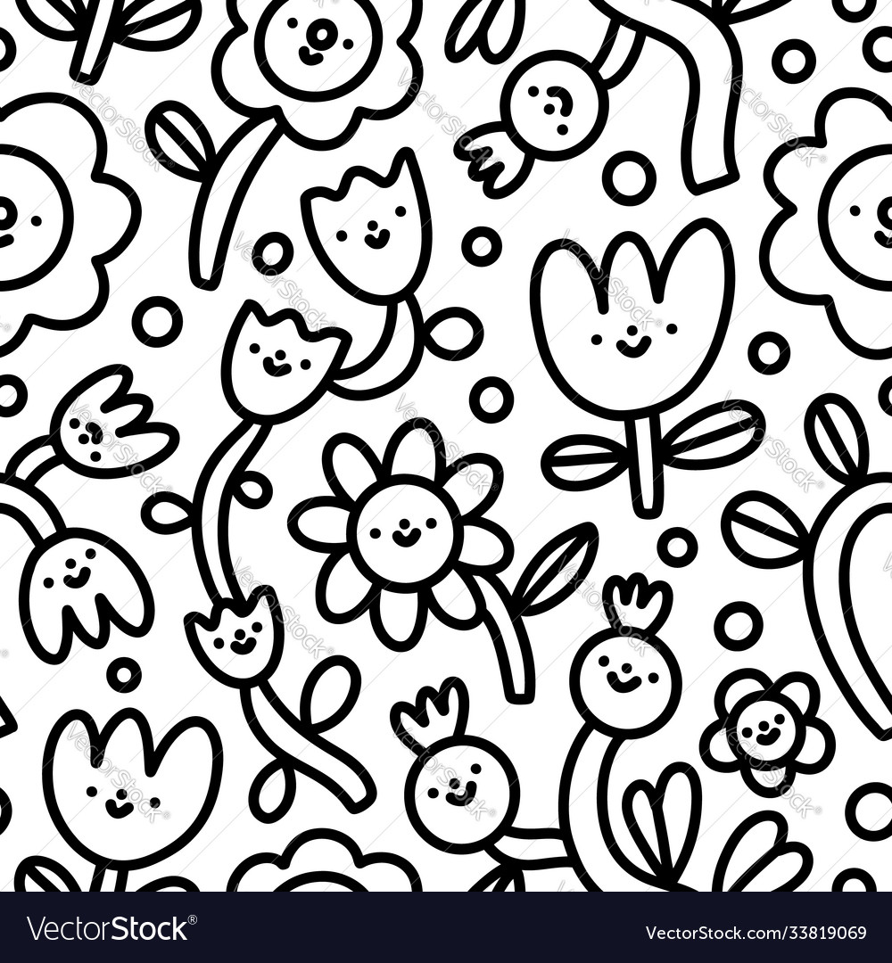 Doodle funny flowers characters simple black and