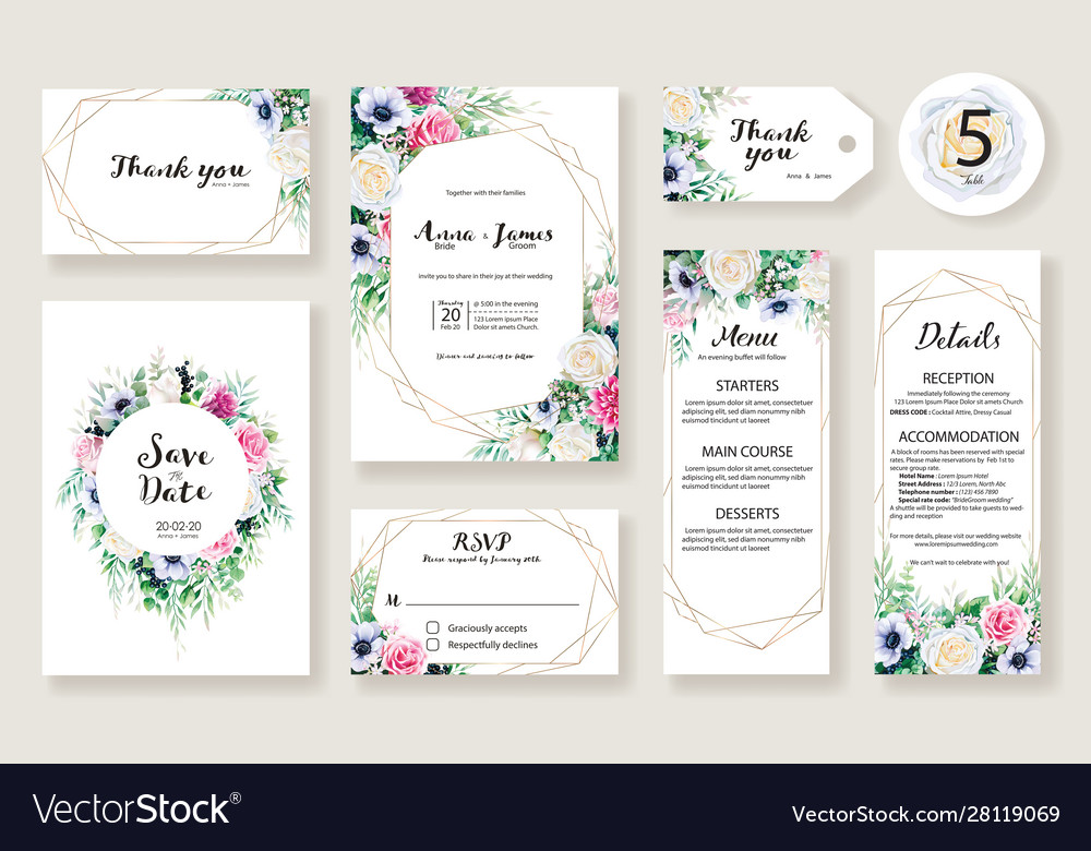Floral wedding invitation card rose and greenery