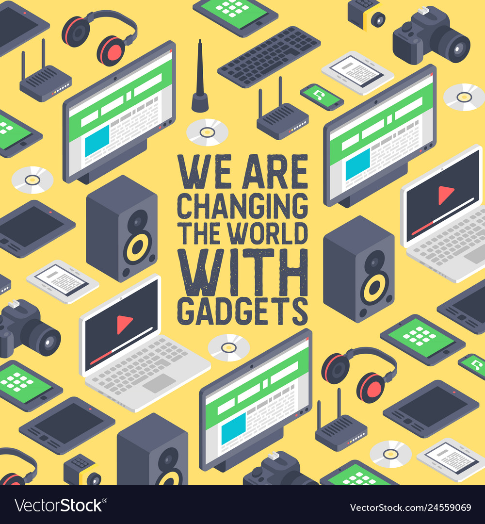 Gadget seamless pattern digital device with