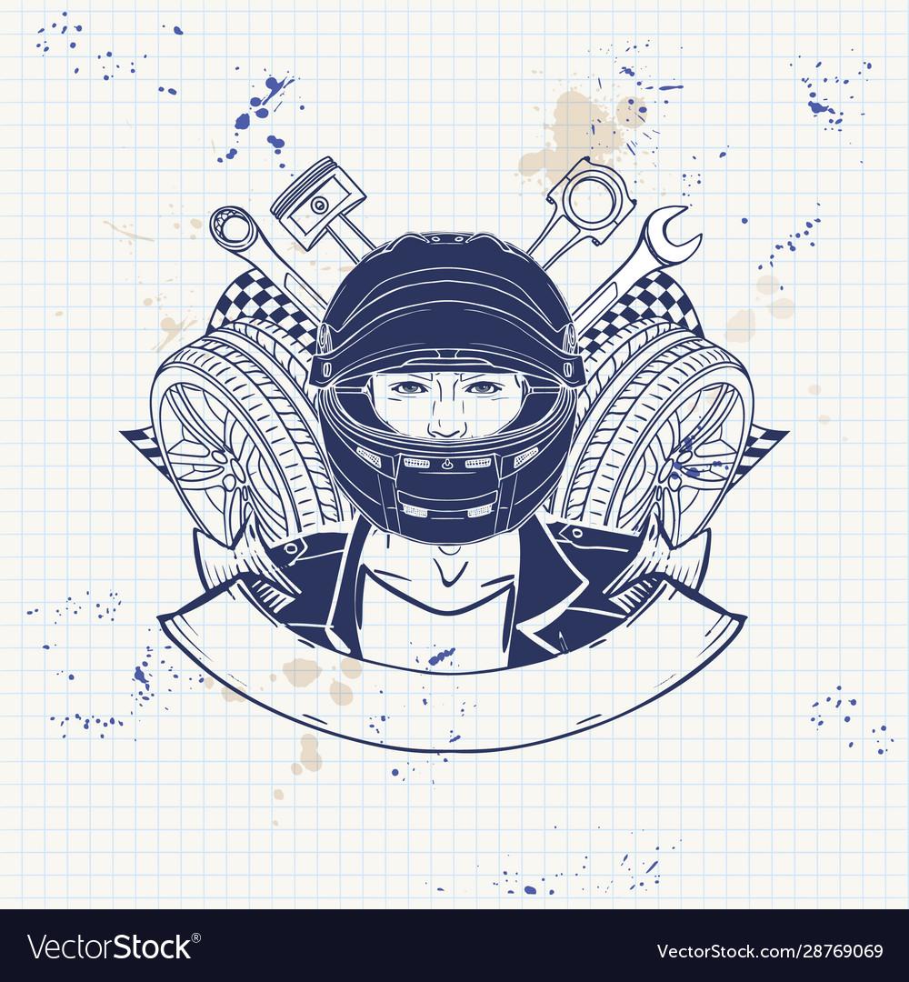 Hand drawn sketch racer man