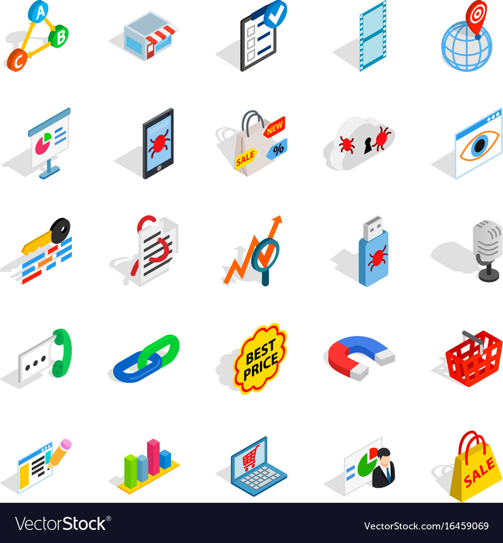 Local server icons set isometric style vector image