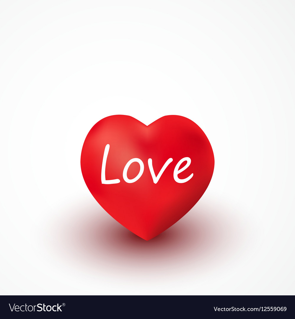 Red heart with inscription love vector image
