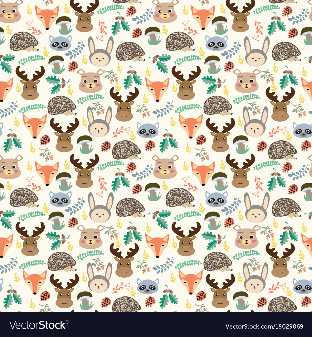 Seamless pattern with cute cartoon forest animals