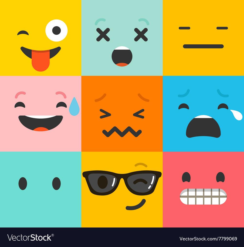 Set of emoticons emoji isolated
