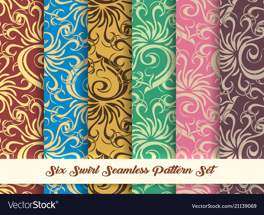 Six swirl seamless pattern set