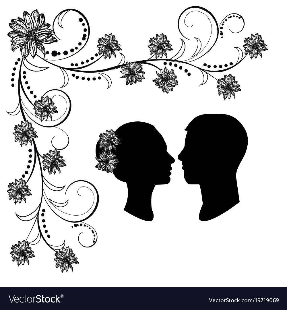 Wedding silhouette with flourishes