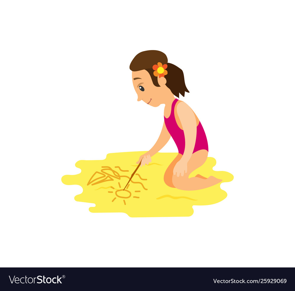 Woman in swimsuit drawing stick on beach