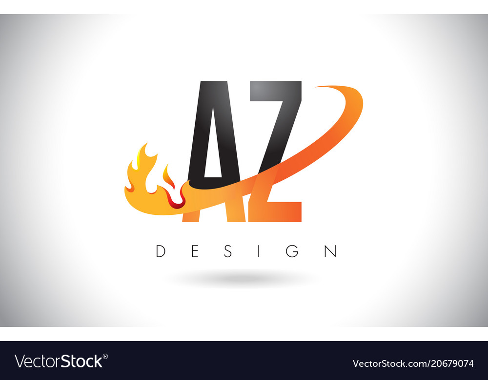 az a z letter logo with fire flames design and vector image