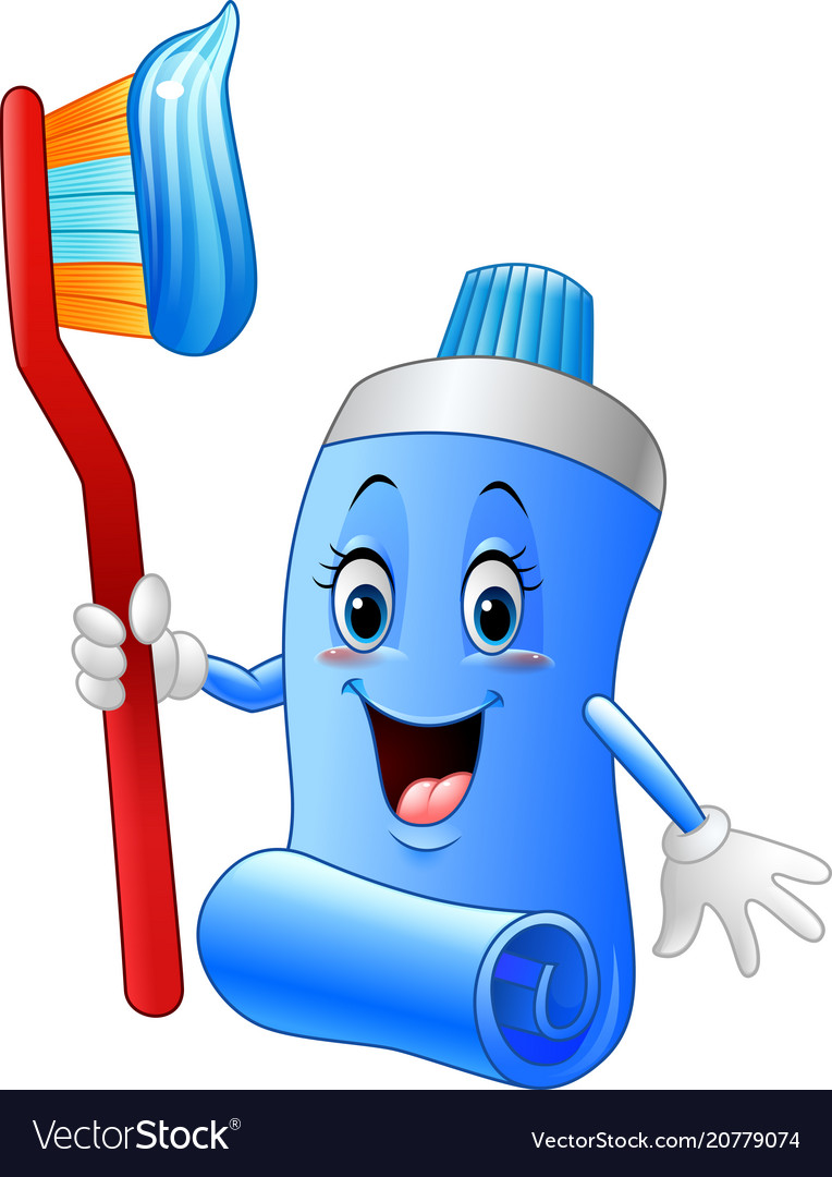 Cartoon funny toothpaste and toothbrush Royalty Free Vector