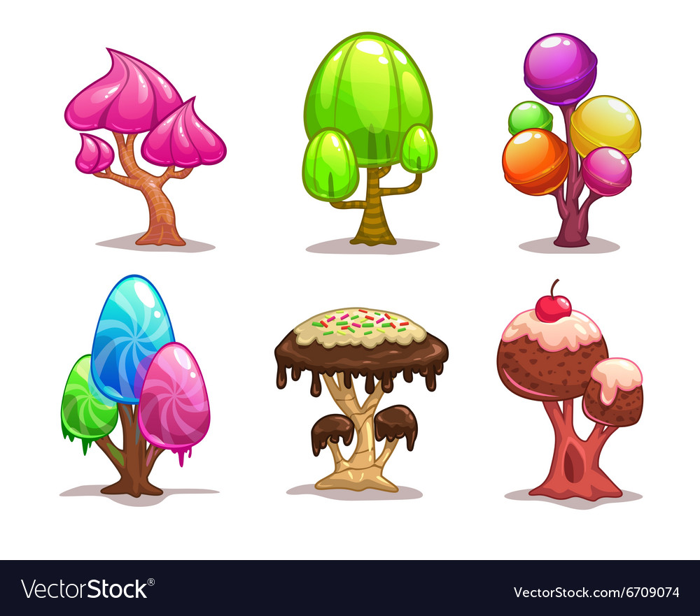 Cartoon sweet candy tree vector image