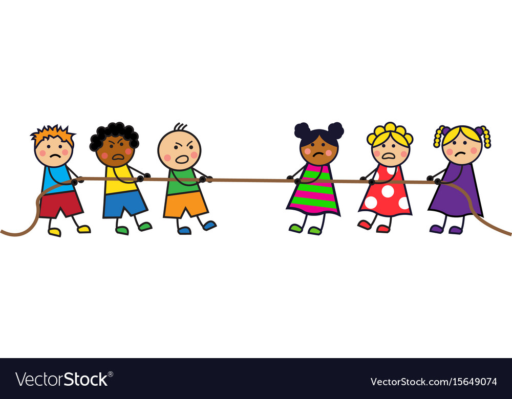 children pull the rope royalty free vector image